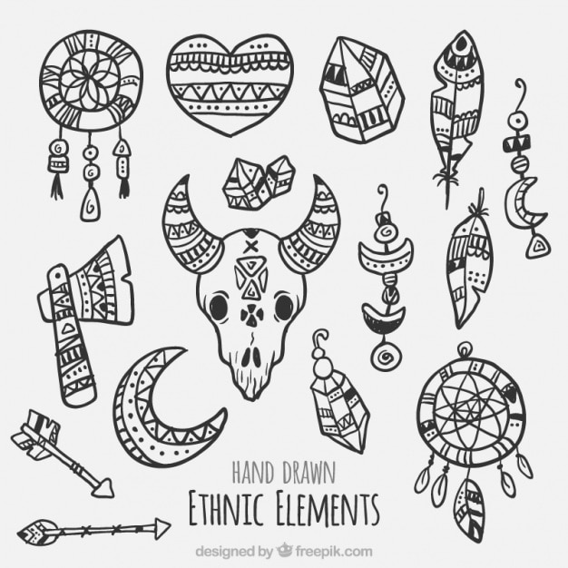 Collection of tribal hand-drawn elements Free Vector