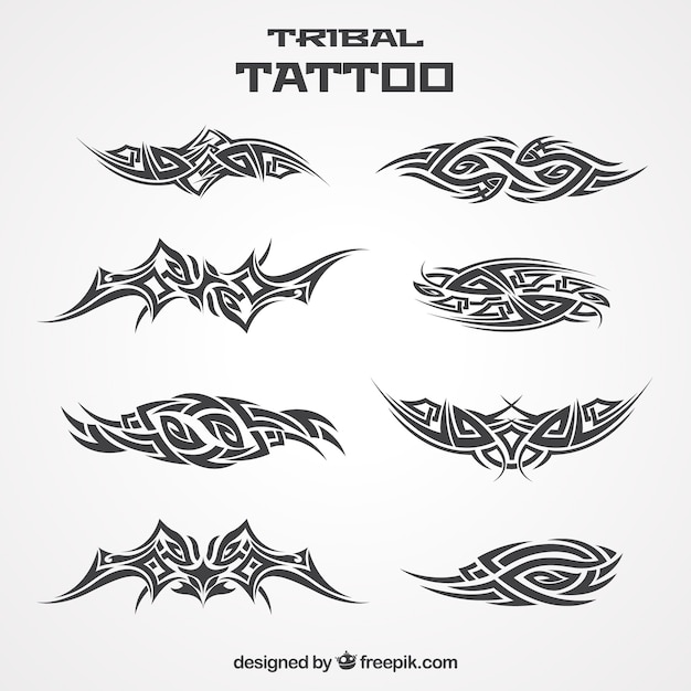 Collection of tribal tattoo Free Vector
