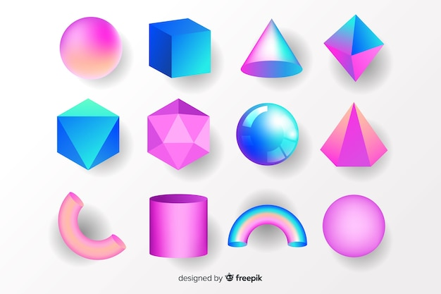 Collection of tridimensional geometric shapes Free Vector