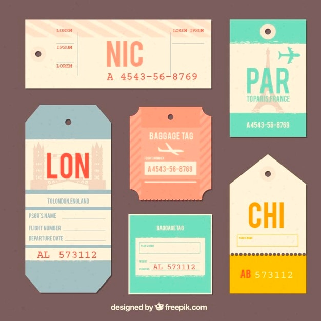 Collection of trip tag in flat design Free Vector