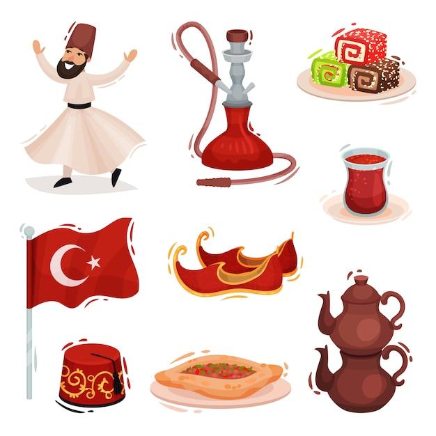 Collection turkish national symbols.  illustration on white background. Premium Vector