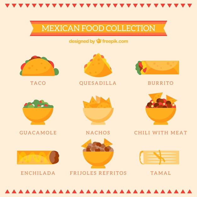 Collection of typical mexican gastronomy Free Vector