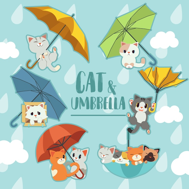 The collection of the umbrella with a cats set. Premium Vector