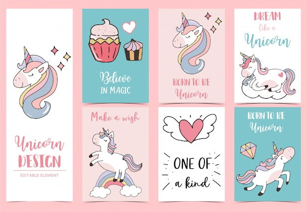 Collection of unicorn background set with cupcake Premium Vector