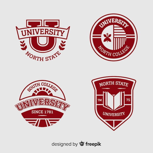 Collection of university logos in flat style Free Vector