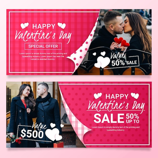 Collection of valentine's day banners with photo Free Vector