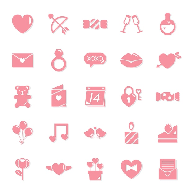 Collection of valentines day icons Free Vector