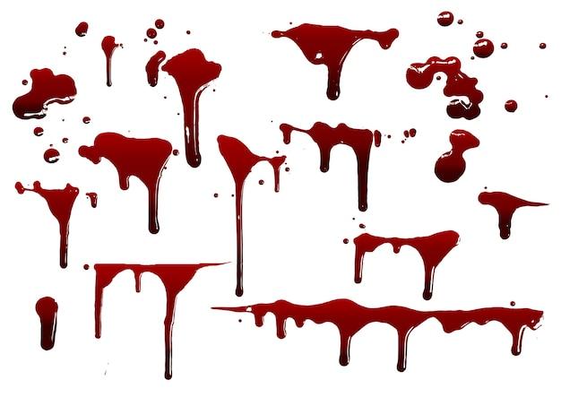 Собирайте различные брызги крови или краски Premium векторы