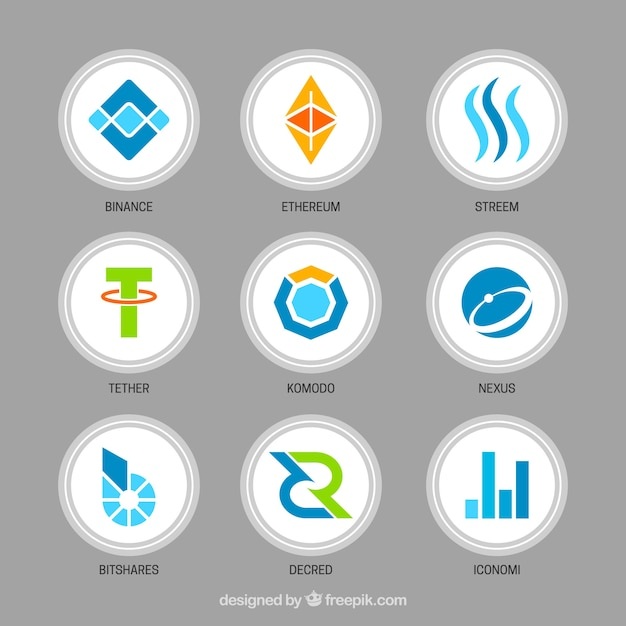 Collection of various cryptocurrency coins Free Vector