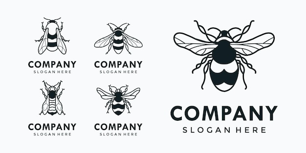 A collection of various kinds of bees that are put together Premium Vector