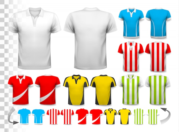Collection of various soccer jerseys. the t-shirt is transparent and can be used as a template with your own . . Premium Vector