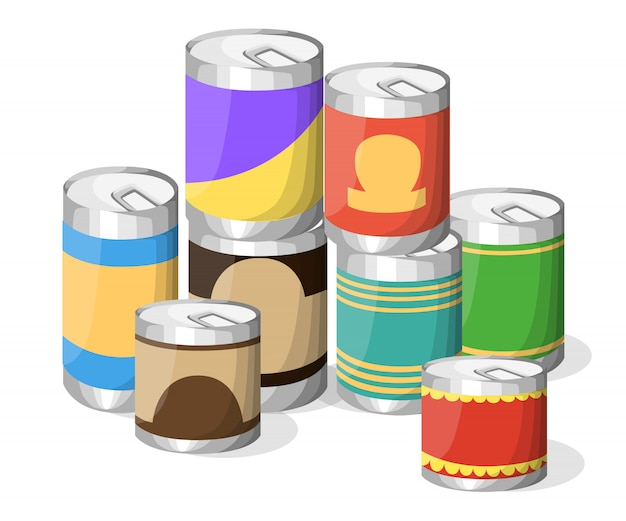 Collection of various tins canned goods food metal container grocery store and product storage aluminum  label canned conserve illustration. web site page and mobile app   element. Premium Vector