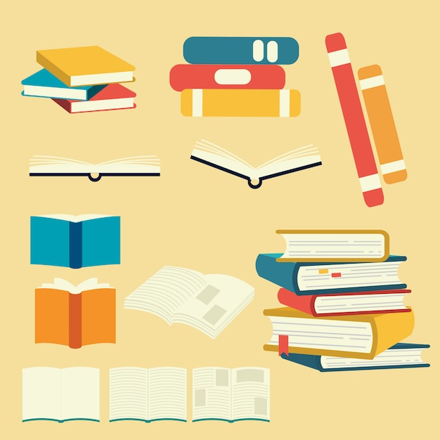 Collection of vector book set. pile of book. Premium Vector