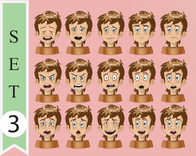 Collection of vector cartoon emotion face Premium Vector