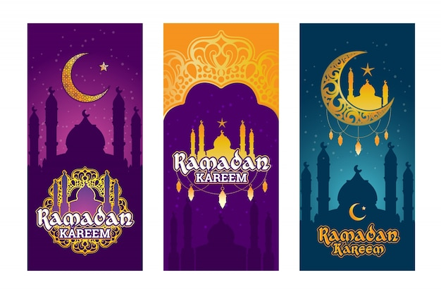 Collection of vector colored banners for ramadan kareem with ramadan elements Free Vector