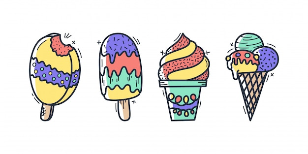Collection of vector ice cream illustrations drawn by hand isolated on background. Premium Vector