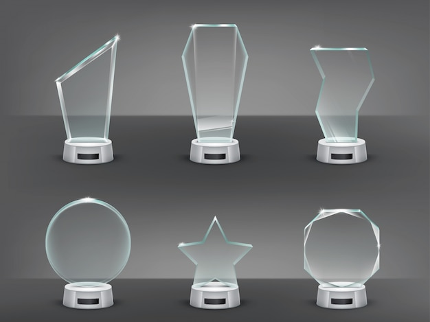 Collection vector illustration of modern glass trophies, prizes Free Vector