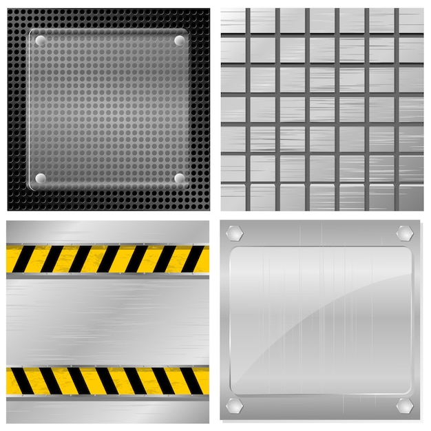 Collection of vector illustrations of metal plates Premium Vector