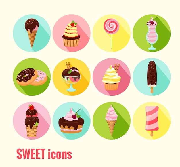 Collection of vector sweet icons with ice cream  cupcakes  cakes  doughnuts  sundae  milkshake and ice lolly with chocolate  cherry and icing toppings on round colored buttons Free Vector