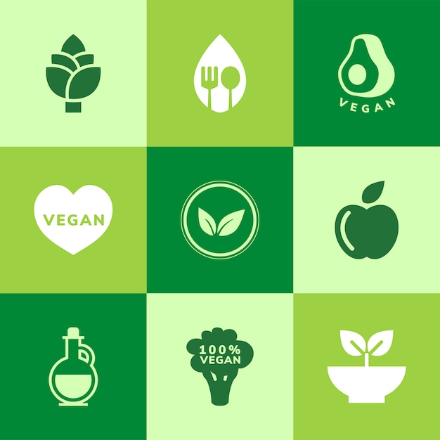 Collection of vegan icon vectors Free Vector