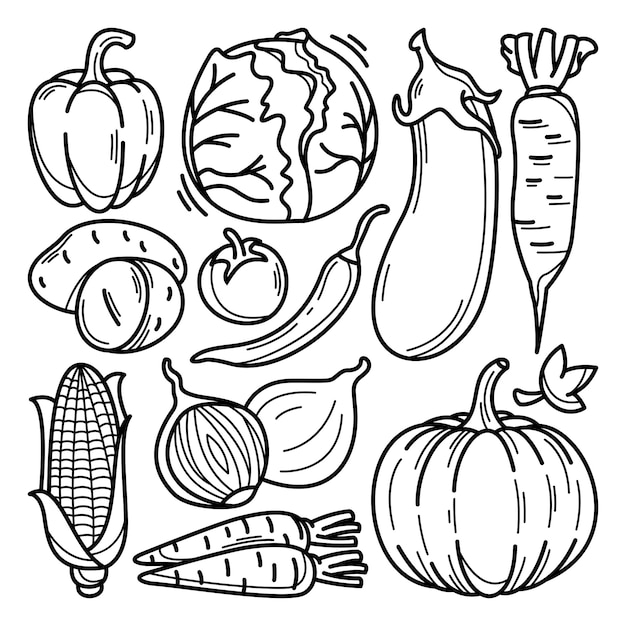 Collection of vegetables doodle Premium Vector