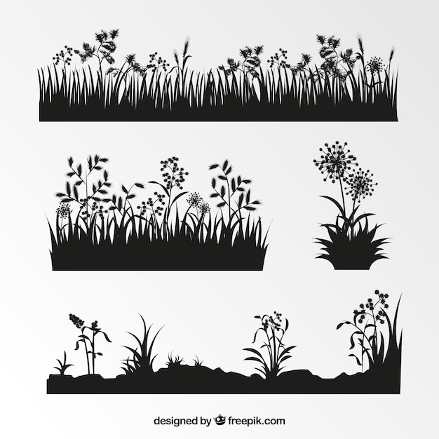 Collection of vegetation silhouettes Free Vector