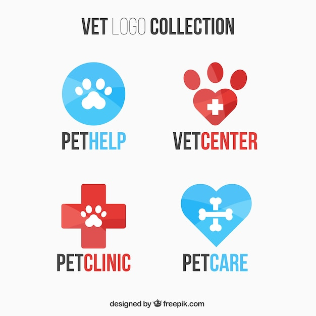 Collection of vet logos Free Vector