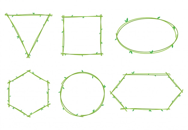 Collection of vine plant frames Premium Vector