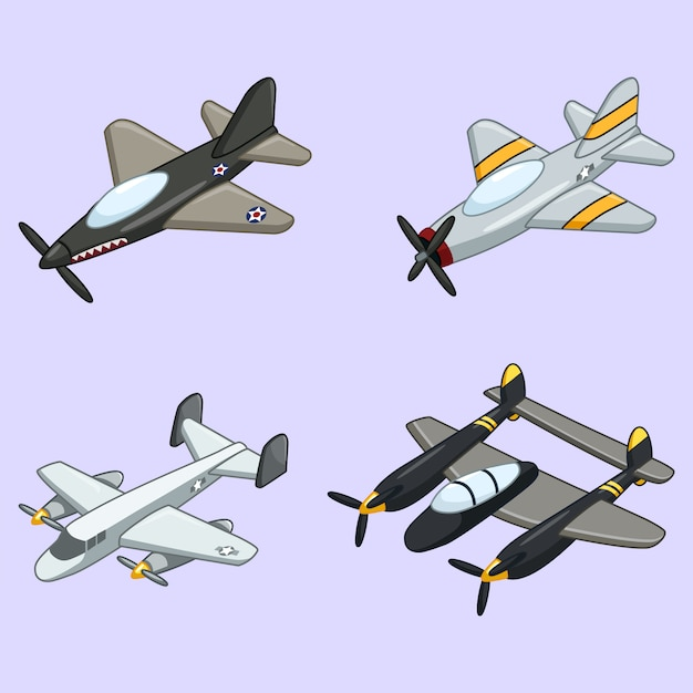 Collection of vintage airplane Premium Vector