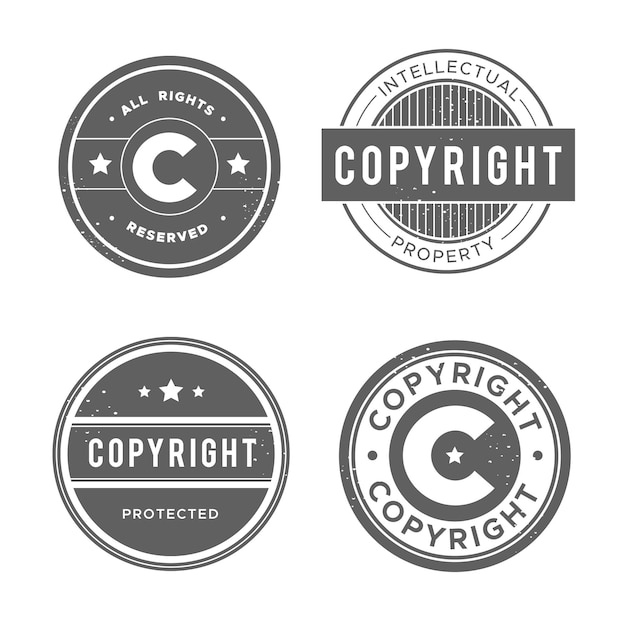 Collection of vintage copyright stamps Premium Vector