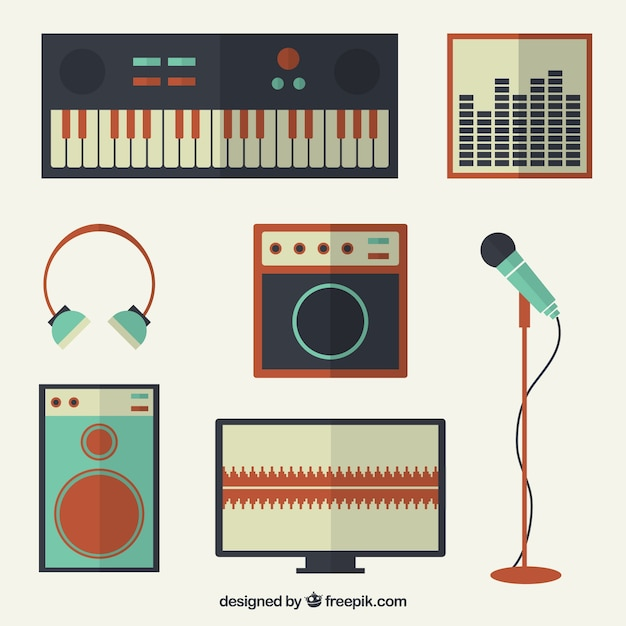 Collection of vintage elements related to music Free Vector