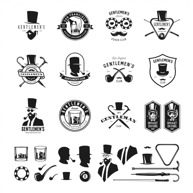 Collection of vintage gentleman emblems, labels, badges and design elements. monochrome style Premium Vector