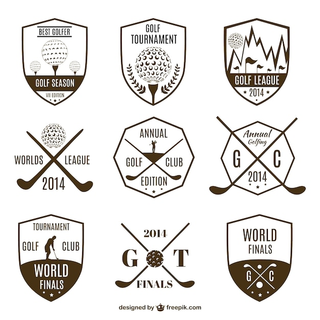 Collection of vintage golf logos Free Vector