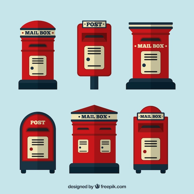 Collection of vintage mailboxes in flat design Free Vector