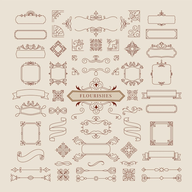 Collection of vintage ornament frame illustration Free Vector