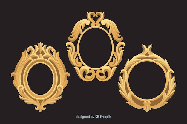 Collection of vintage ornamental frames Free Vector