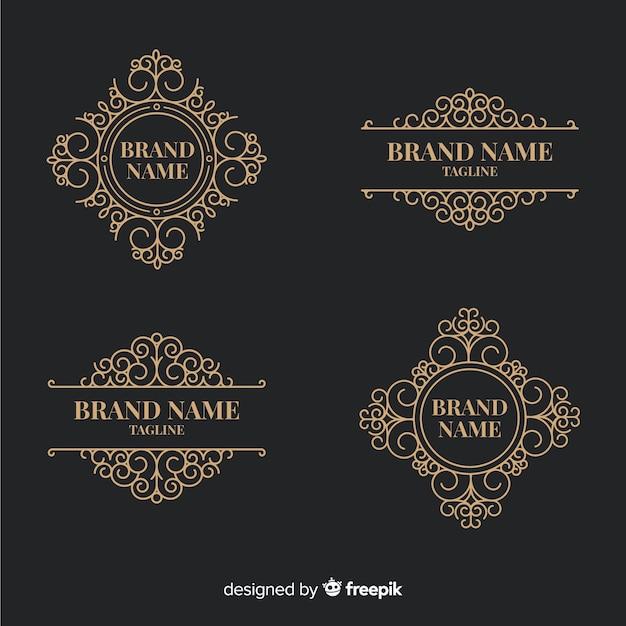 Collection of vintage ornamental logos Free Vector