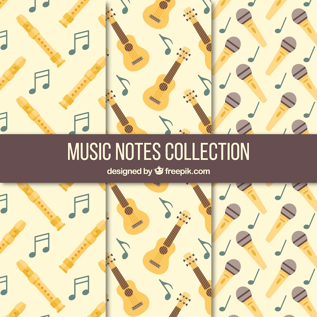 Collection of vintage patterns with musical instruments and microphone Free Vector