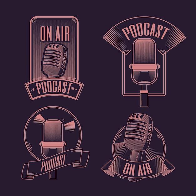 Collezione di loghi di podcast vintage Vettore gratuito