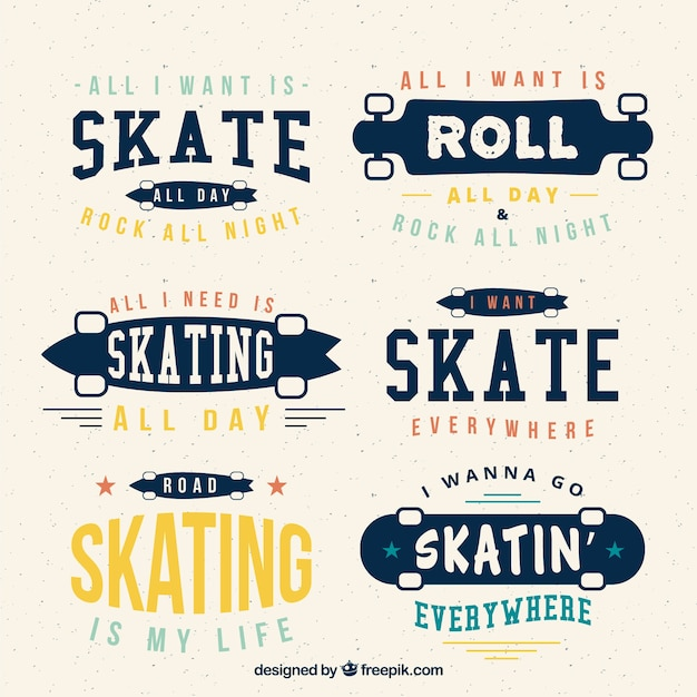 Collection of vintage skateboard with phrases Free Vector