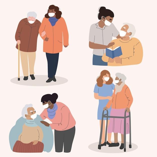 Raccolta di volontari che aiutano gli anziani Vettore gratuito