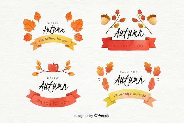 Collection of watercolor autumn badges Free Vector