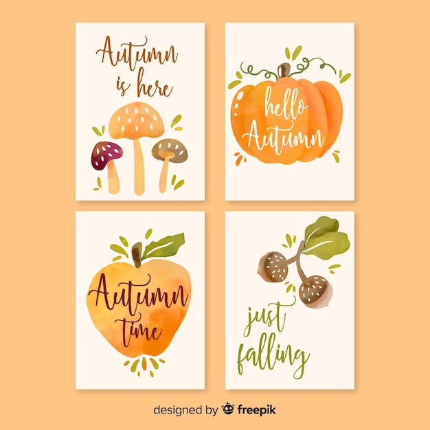 Collection of watercolor autumn cards Free Vector