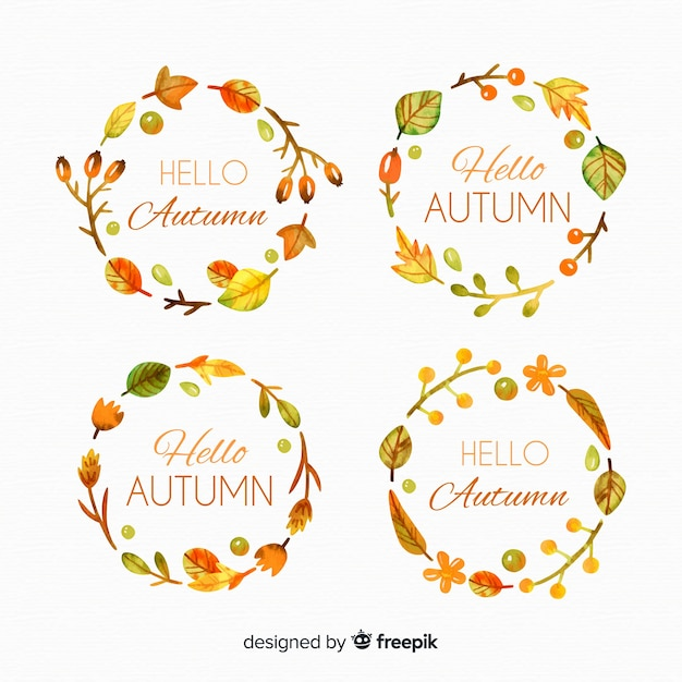Collection of watercolor autumn labels Free Vector