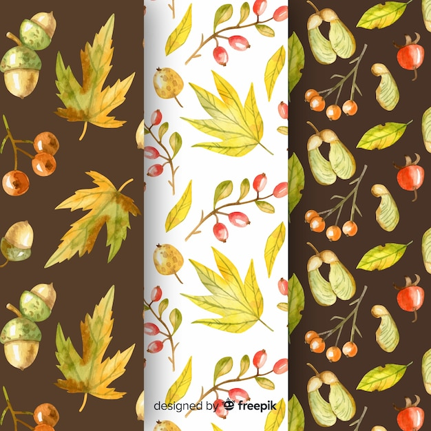 Collection of watercolor autumn patterns Free Vector
