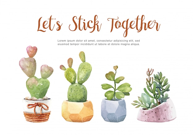 Collection watercolor cacti and succulents with pots. Premium Vector