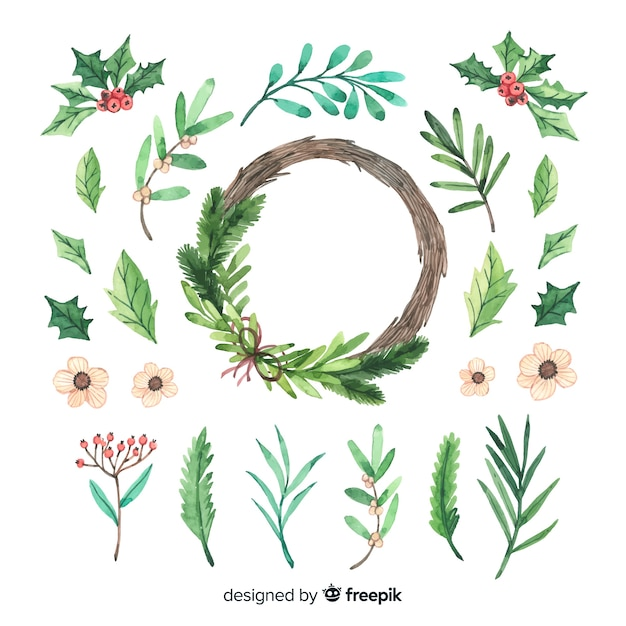 Collection of watercolor christmas flower & wreath Free Vector