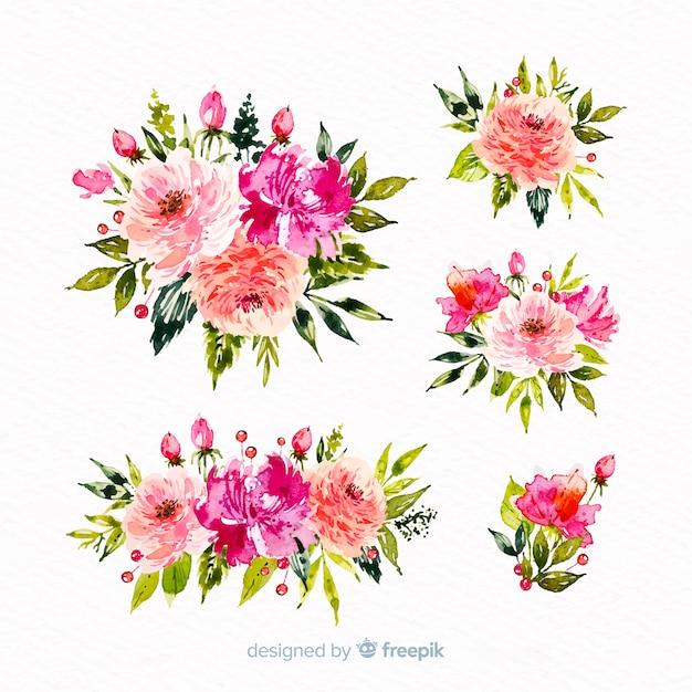 Collection of watercolor floral bouquet Free Vector
