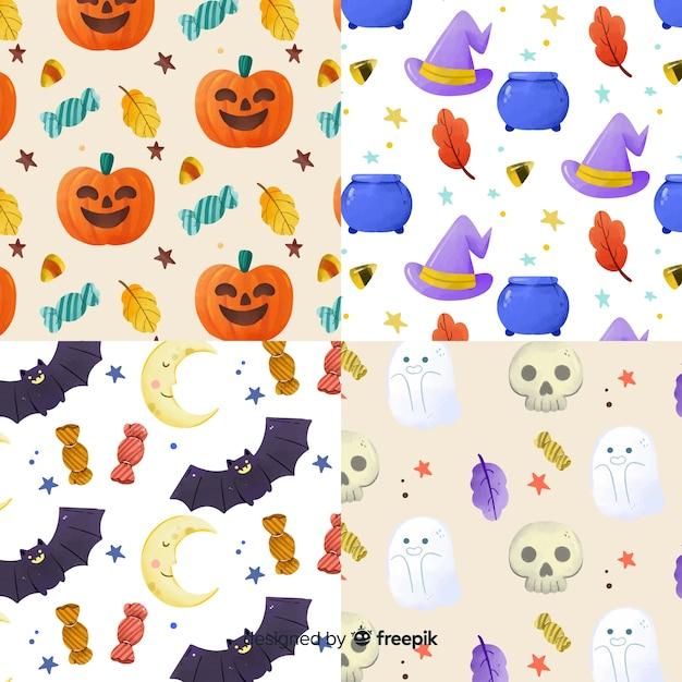 Collection of watercolor halloween pattern Free Vector