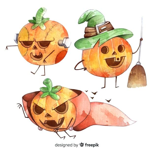 Collection of watercolor halloween pumpkin costumes Free Vector